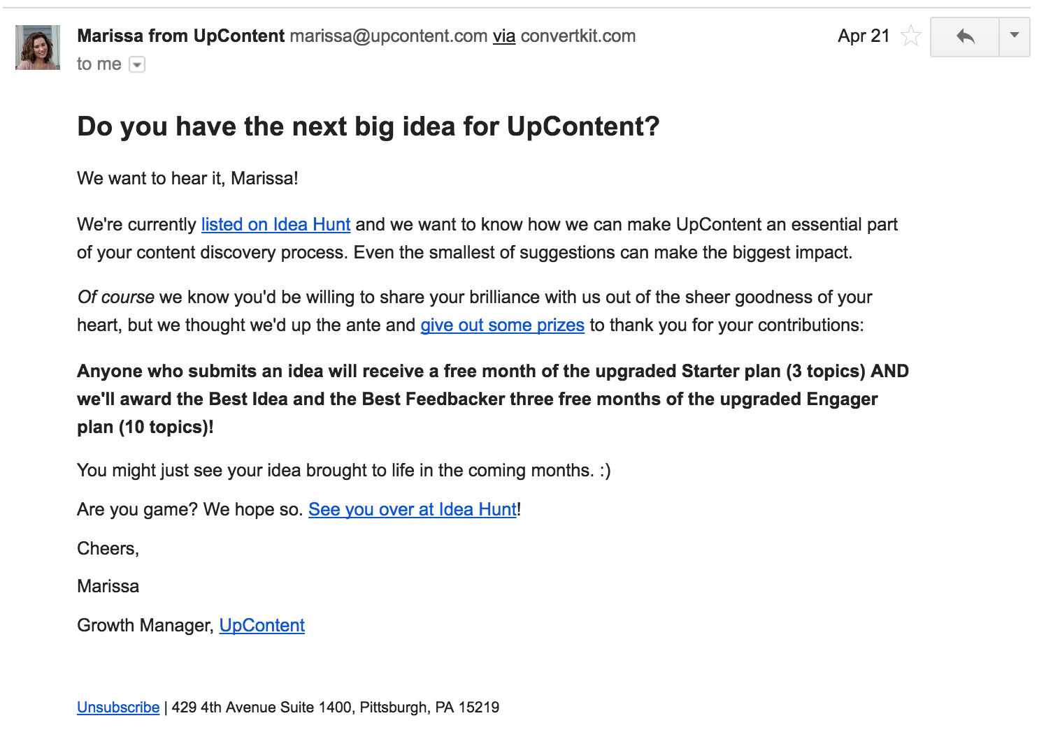 Email created to invite users to submit ideas.
