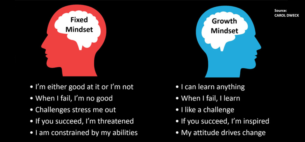 Showing the difference between the Fixed mindset and the Growth mindset.